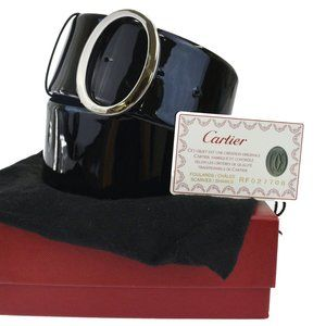 CARTIER Logos Buckle Belt patent Leather Silver Pl